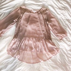 Dusty Rose Sheer Lace Blouse